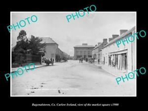 OLD-LARGE-HISTORIC-PHOTO-OF-BAGENALSTOWN-CARLOW-IRELAND-MARKET-SQUARE-c1900
