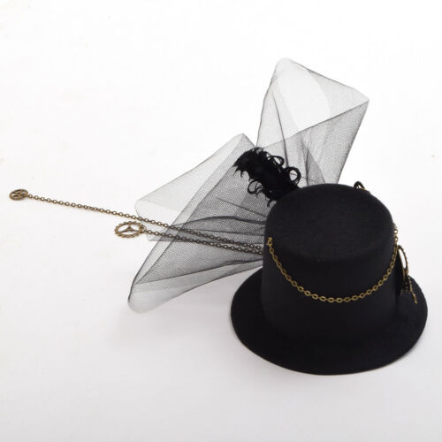 Women Steampunk Gear Wings Clock Butterfly Hat Gothic Lace Hair Clip Headwear