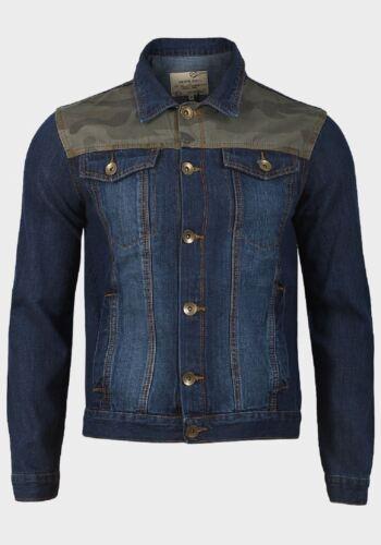 Blend Men's Denim Blue Washed Print Cotton Jacket Camo Sleeve Soul Long Brave FgAt77