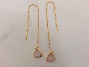 18K-Gold-on-Sterling-Silver-Threader-Earrings-Teardrop-Gemstone-Rose-Quartz