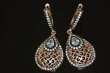 Turkish Ottoman 0.25 Ct Swarowski 925 Sterling Silver Rose Gold Pear Earrings