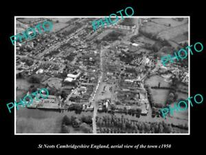 OLD-LARGE-HISTORIC-PHOTO-OF-ST-NEOTS-ENGLAND-AERIAL-VIEW-OF-THE-TOWN-c1950-4