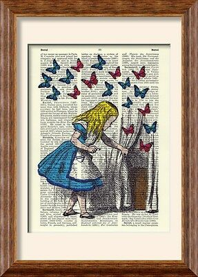 Art Print - Alice in Wonderland & Butterlies - on Antique Book Page - Butterfly