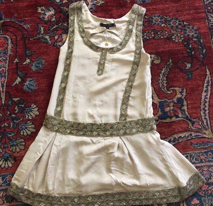 Woherren Anne Havlicek Flapper Dress Größe 4 Beige W Beading NWT