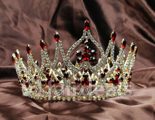US Queen Bridal Red Crystal Full Crowns Wedding Tiaras Prom Pageant Hair Jewelry