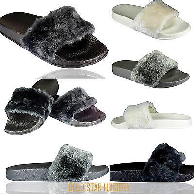Para mujer cómodos control deslizante de goma de Piel Sintética Zapatos sin Taco diapositivas Pantuflas Sandalias De Calidad
