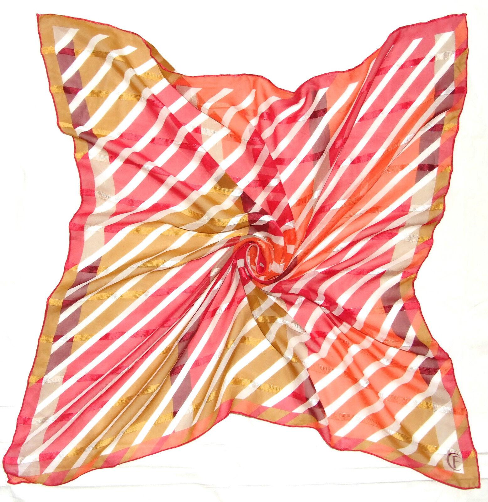 Amazing CHRISTIAN FISCHBACHER Signed GEOMETRIC Red Orange Chiffon Silk 31
