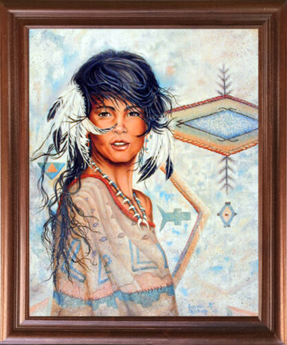 Native American Indian Maiden Wall Decor Mahogany Framed Picture Art Print 18x22