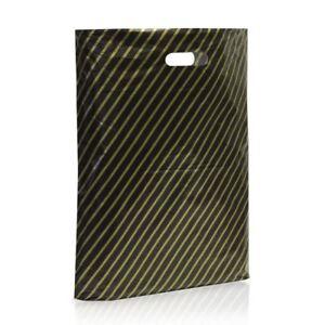 1000 X Black and Gold Striped Plastic Carrier Bags Stripe 9''x11'' Boutique Shop