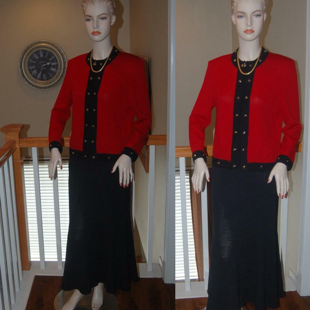 Wow ST. JOHN Punto Negro y Rojo impresionante colección de  punto Santana Falda Traje de Tamaño 8  ventas al por mayor
