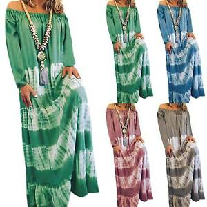 Womens-Hippie-Off-Shoulder-Loose-Tunic-Maxi-Kaftan-Dress-Long-Sleeve-Plus-Size