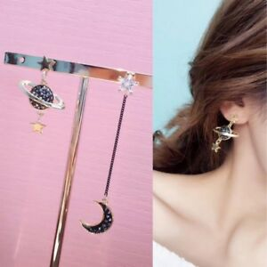 1-Pair-Asymmetry-Saturn-Moon-Star-Fashion-Stud-Earrings-Ear-Stud-Saturn-Women