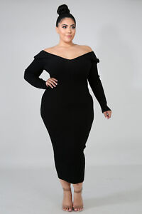 3a4ed58bfc4 Details about Plus Size Black Ribbed Long Sleeve Going Out Bodycon Midi  Dress 1X - 3X