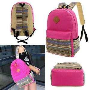 Girls-School-Shoulder-Lady-Backpack-Rucksack-Travel-Work-Gym-Canvas-Bag-Pink-HC