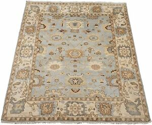 8X10-Light-Blue-Oushak-Hand-Knotted-amp-Vegetable-Dyed-Wool-Rug-8-3-x-9-11