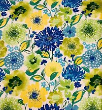 Troy Blooming Elaine Salcer Blue White Yellow Heart Flower COTTON Fabric BTY