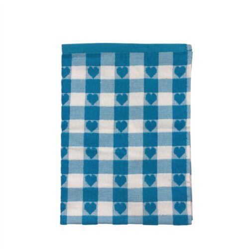 4 X CHECKED HEART BLUE WHITE 100/% COTTON TEA TOWELS 50X70CM