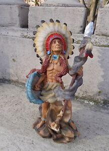 Indianer-Bueffel-Westernfiguren-30x13-Indianerfigur-gross-Western-Deko-Statue
