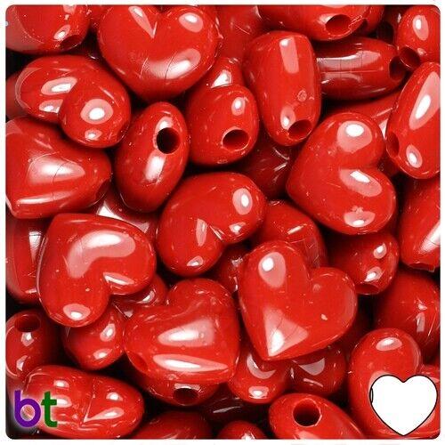 10 x Heart Pony Beads 18mm Valentines