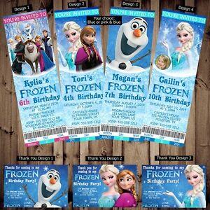 Printed Personalized Disney Frozen Birthday Ticket Invitations Thank