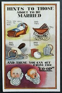 CO-OP-ADVERT-POSTCARD-HINTS-TO-THOSE-ABOUT-TO-BE-MARRIED-BABY-ITEMS-amp-BABIES
