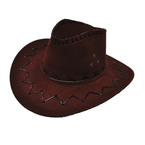 Hot Cowboy Hat Imitate Suede Look Wild West Fancy Dress Cowgirl Unisex Hats ME