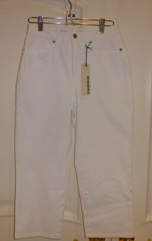 Cambio Size 4 Karen Cropped Capri Jeans White New With Tgas  145.00