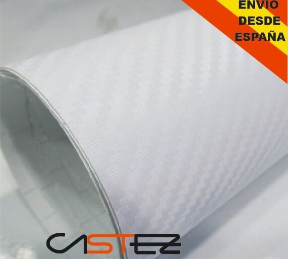 VINILO FIBRA CARBONO BLANCO 3D 100x76cm (ENVIO 48h) carbon fiber air free white