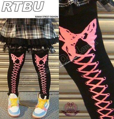 Hyper Punk Lolita Thigh hi Corset Bow Legging Neon Pink