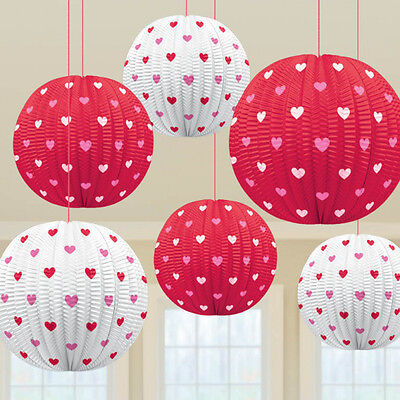 VALENTINES DAY RED WHITE HEARTS PAPER MINI LANTERNS  HANGING PARTY DECORATIONS