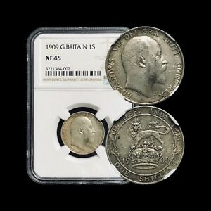 1909-Great-Britain-Shilling-NGC-XF45-Silver-Top-15-Pop