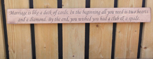 British handmade wooden sign Marriage is like a deck of cards