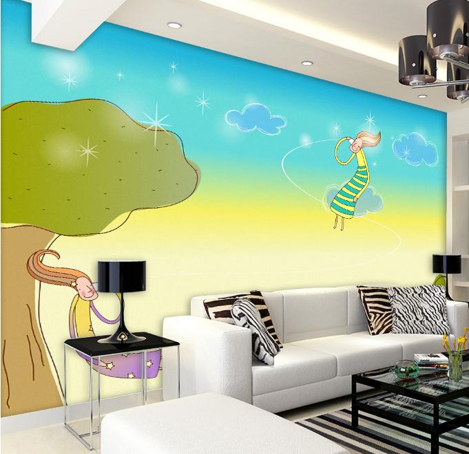 3D Cartoon Girl 55 Wallpaper Murals Wall Print Wallpaper Mural AJ WALL UK Summer