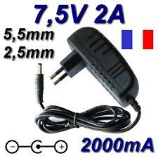 Adaptateur Secteur Alimentation Chargeur DC 220V 7,5V 2A 2000mA 15W 5,5mm 2,5mm
