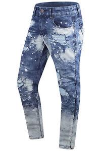 Sdrucito Denim Blu Jeans Da Uomo Nuove Premium Taglie Pantaloni Schizzata Colori w8Pqp6HFx