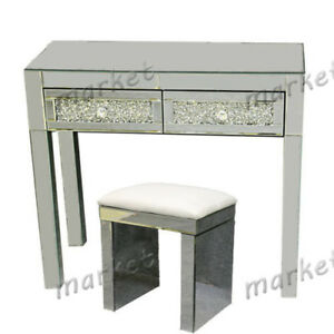 Details About Mirrored Furniture Glass Dressing Table With Drawers Console  Bedroom Stool