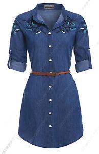 NEW Womens Longline Floral Denim Shirt Dress Ladies Jean Dress Size 8 10 12 14