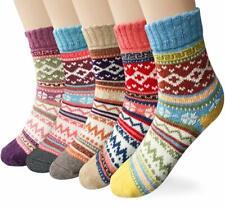 Century Star Womens Knit Wool Vintage Casual Crew Comfortable Winter Socks 5 Pack