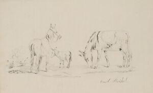 REICHEL, Frühe Studienskizze. Grasende Pferde auf der Weide, 19. Jh., Bleistift