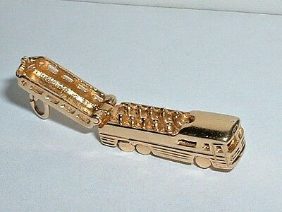 VINTAGE 14k YELLOW GOLD 3D TRAVEL TOUR BUS CHARM it opens up to passengers