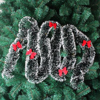 Christmas Tree Ornament Decor Dark Green Tops White Edge Ribbon Garland New Year Ebay