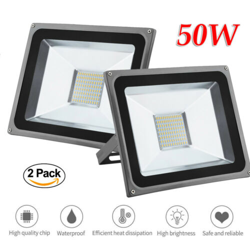Set of 2 50W LED Floodlight Ultrathin Spotlight IP65 Outdoor Wall Lamp AC85-265V