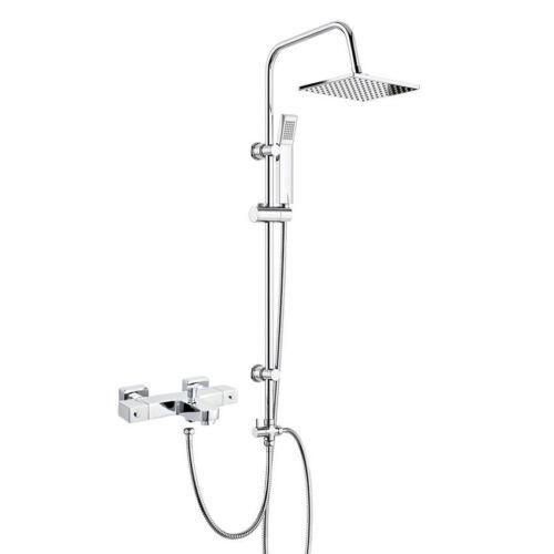 3 Way Square Rigid Riser Shower Kit /& Thermostatic Bath Shower Mixer Tap Square