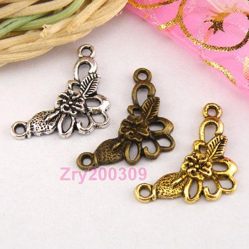 20Pcs Tibetan Silver,Gold,Bronze 1-2 Flowers Charm Pendants Connectors M1338