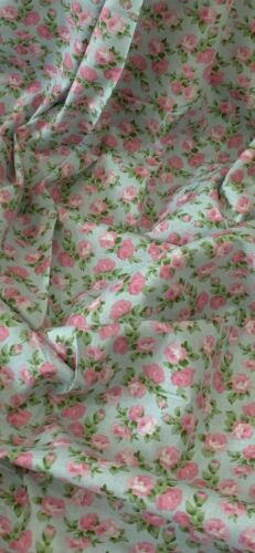 Sky Blue Pink Green Floral 100/% Cotton Fabric 45/'/' PRICE PER METER