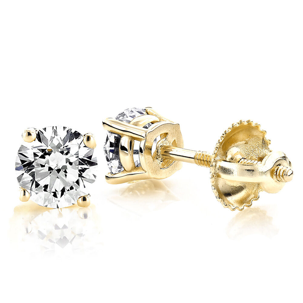 0.25Ct Enhanced Diamond G-H SI3-I1 14K Yellow gold Solitaire Mens Single Earring