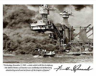 8X10 PHOTO FRANKLIN D ROOSEVELT WWII QUOTE W// FACSIMILE AUTOGRAPH PQ-001