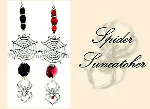 SPIDER SUN CATCHER~Mobile Ornament Gothic Wicca Pagan Glass Crystal Pewter~