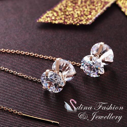 18K Rose Gold Plated Double Diamond Ear Line Stylish Yo-Yo Ear Line Earrings