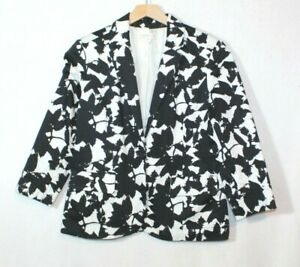 Coldwater-Creek-womens-blazer-size-10-black-and-white-floral-print-button-casual